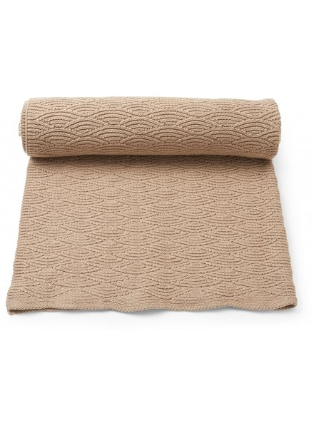 Konges Slojd baby- and children's blanket POINTELLE- 100% organic cotton - brown - one size / 100 x 70 cm
