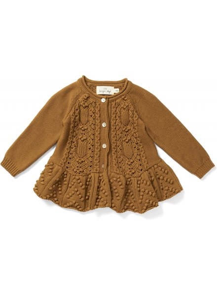 Konges Slojd frilly cardigan CABBY - 100% organic cotton - cinnamon brown - 6m to 8 yrs