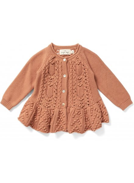 Konges Slojd frilly cardigan CABBY - 100% organic cotton - coral  - 6m to 8 yrs