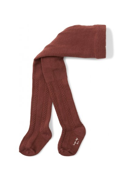 Konges Slojd cotton tights - pointelle/ajour - red brown - 56 to 134 cm