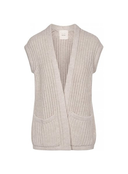 GAI + LISVA knitted women short sleeved vest NOVEMBER - 100% merino wool - nougat melange  - S to L