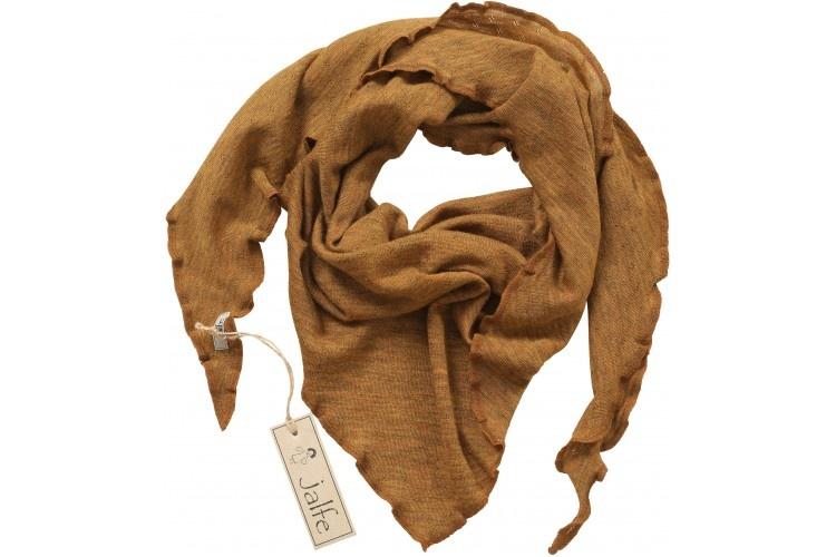 JALFE wollen sjaal eyelet / ajour  - 100%  merino wol - gemeleerd mosterd - 120x40 cm