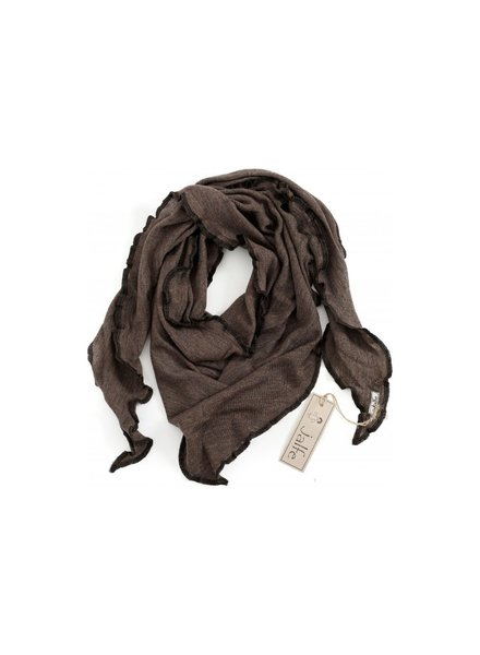 JALFE wollen sjaal eyelet / ajour  - 100%  merino wol - gemeleerd  donkerbruin - 120x40 cm