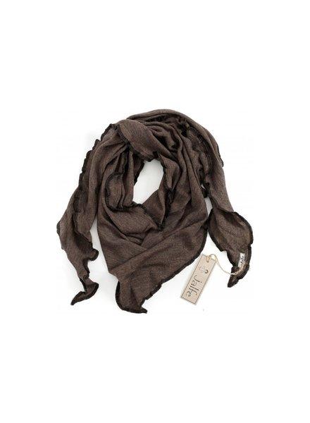 JALFE wool scarf  eyelet / ajour -  100%  merino wool  - dark brown melange - 120x40 cm