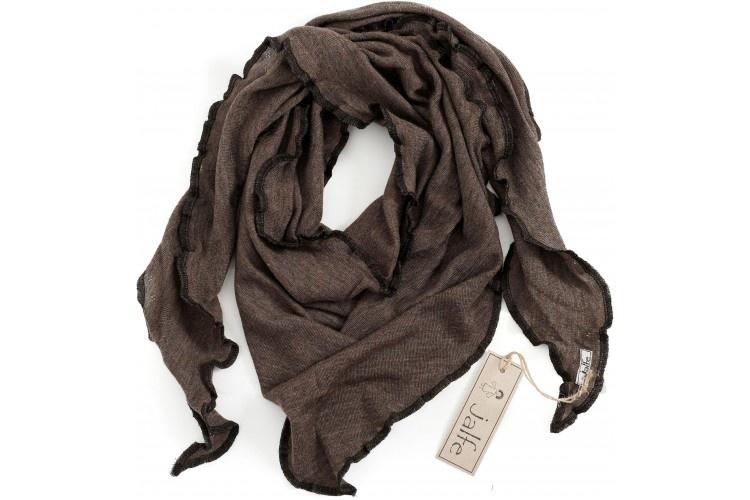 JALFE wool scarf  eyelet / ajour -  100%  merino wool  - mustard melange - 120x40 cm