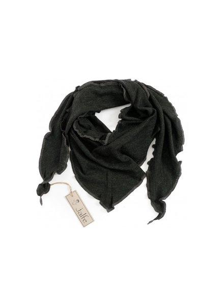 JALFE wollen sjaal eyelet / ajour  - 100%  merino wol - gemeleerd antraciet - 120x40 cm