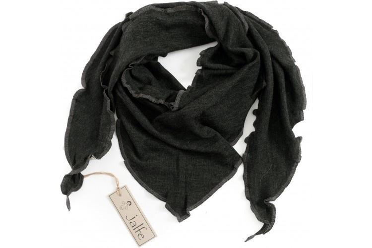 JALFE wool scarf  eyelet / ajour -  100%  merino wool  - anthracite melange - 120x40 cm
