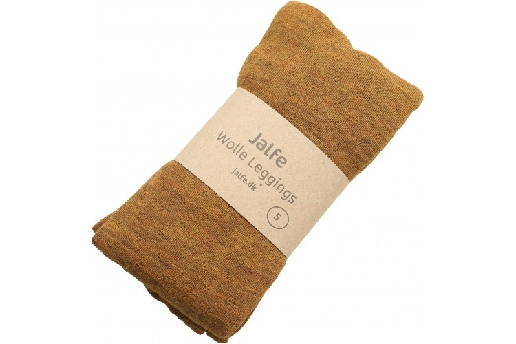 JALFE wollen legging eyelet / ajour  - 100%  merino wol - gemeleerd mosterd - S tm L