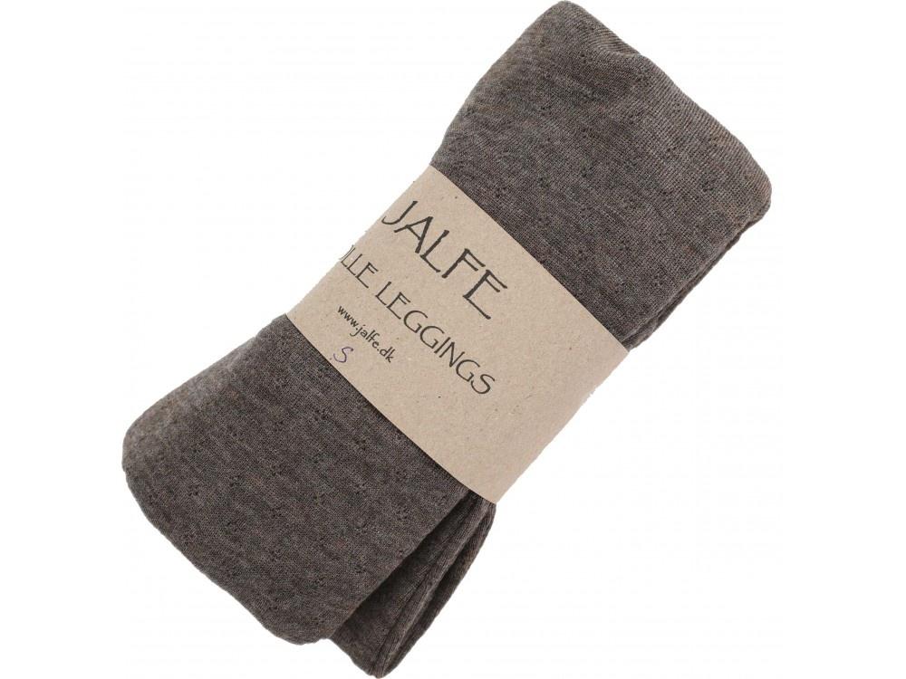 JALFE wollen legging eyelet / ajour  - 100%  merino wol - gemeleerd donkerbruin - S tm L