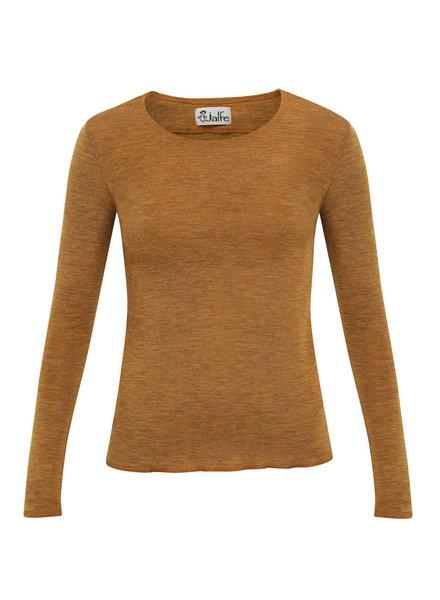 JALFE wool longsleeve eyelet / ajour -  100%  merino wool  - mustard melange - S to L