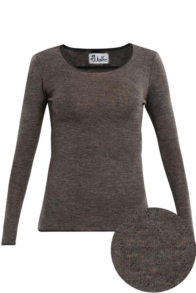 JALFE wool longsleeve eyelet / ajour -  100%  merino wool  - darkbrown melange - S to L