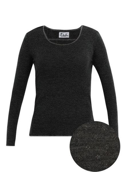 JALFE wool longsleeve eyelet / ajour -  100%  merino wool  - anthracite melange - S to L