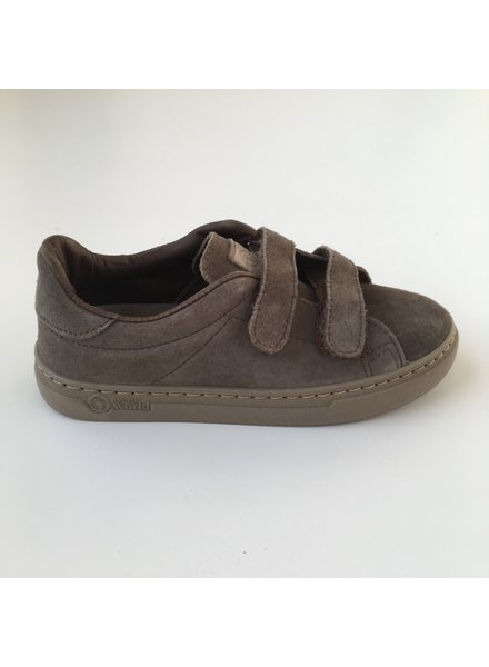 NATURAL WORLD suede eco kids sneakers TEO  - 100% natural rubber sole - taupe - 25 to 38