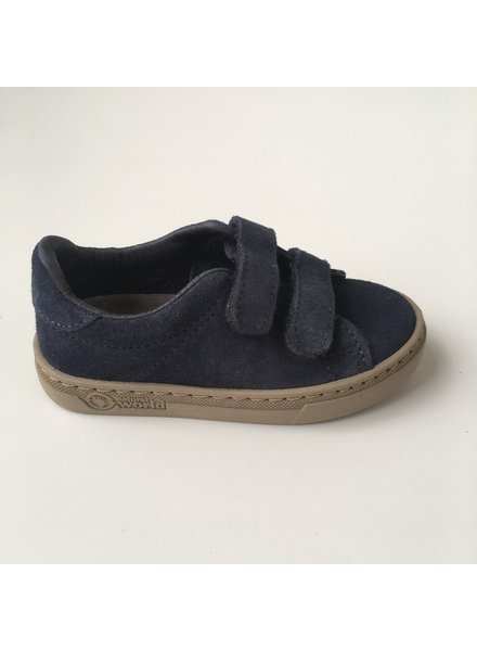 NATURAL WORLD suede eco kids sneakers TEO  - 100% natural rubber sole - blue - 25 to 38