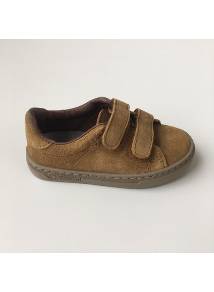 NATURAL WORLD suede eco kinder sneakers TEO - 100% natuur rubberen zool -  mosterd- 25 tm 38