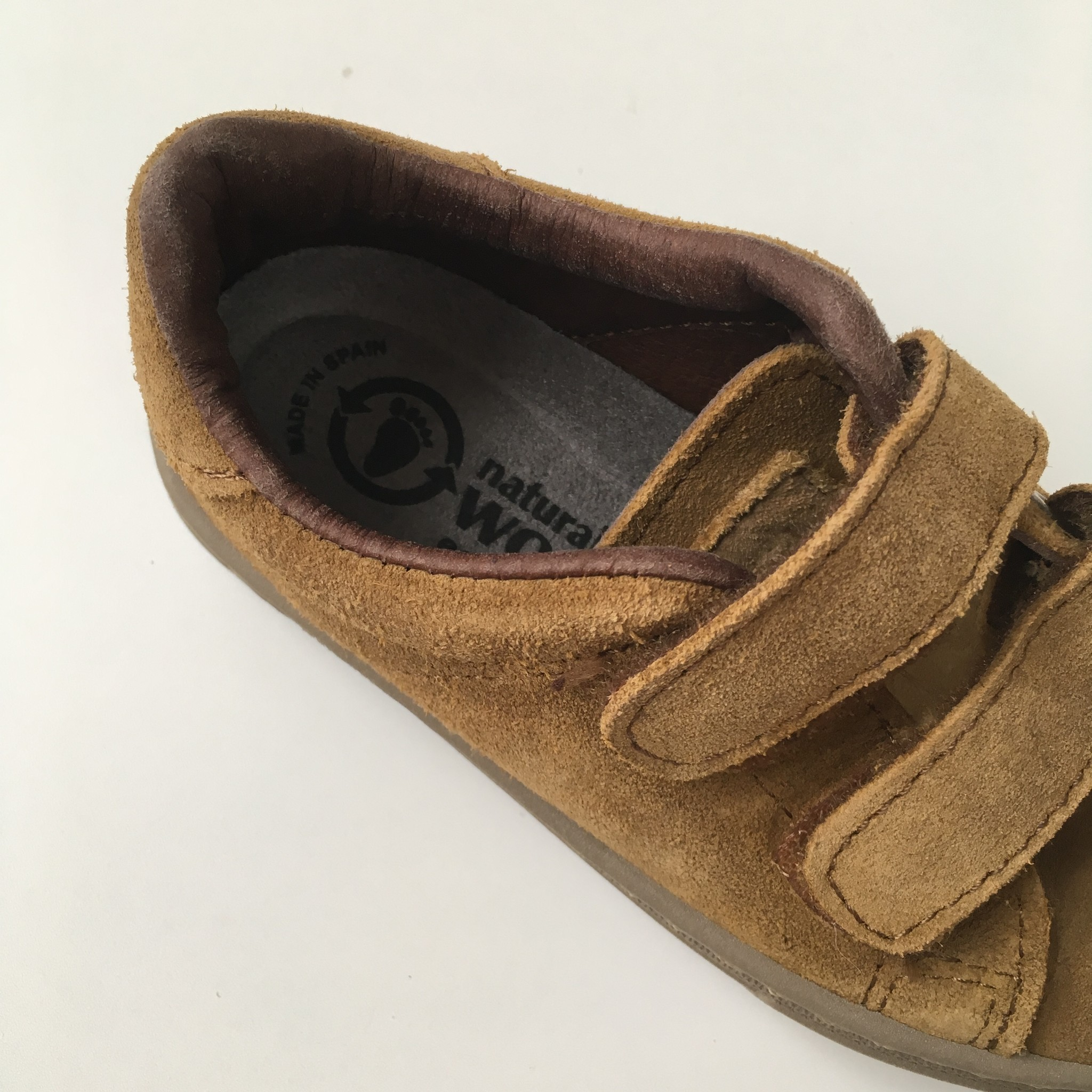 NATURAL WORLD suede eco kids sneakers TEO  - 100% natural rubber sole - mustard - 25 to 38