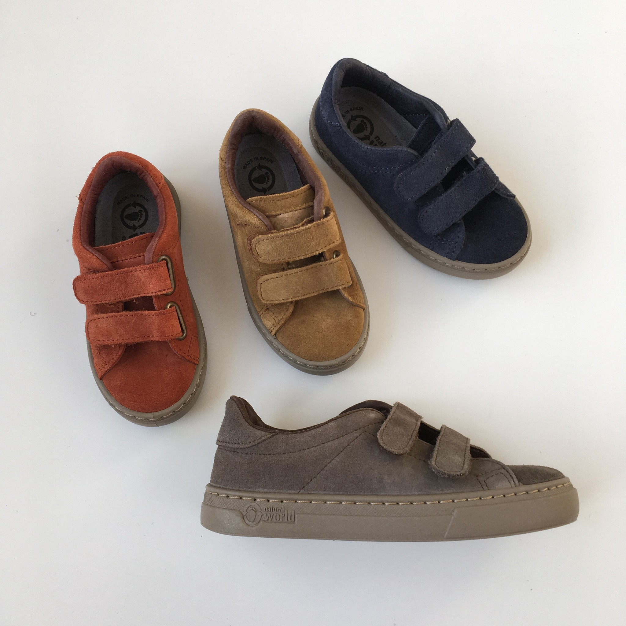 NATURAL WORLD suede eco kids sneakers TEO  - 100% natural rubber sole - rusty orange - 25 to 38