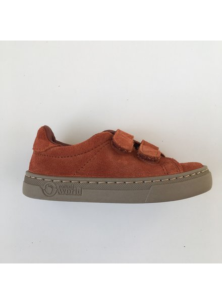 NATURAL WORLD suede eco kinder sneakers TEO - 100% natuur rubberen zool -  roest - 25 tm 38