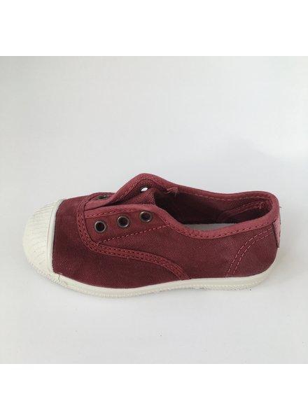 NATURAL WORLD eco kinder sneakers OLD LAVANDA - biologisch katoen - stone washed bordeaux - 21 tm 34