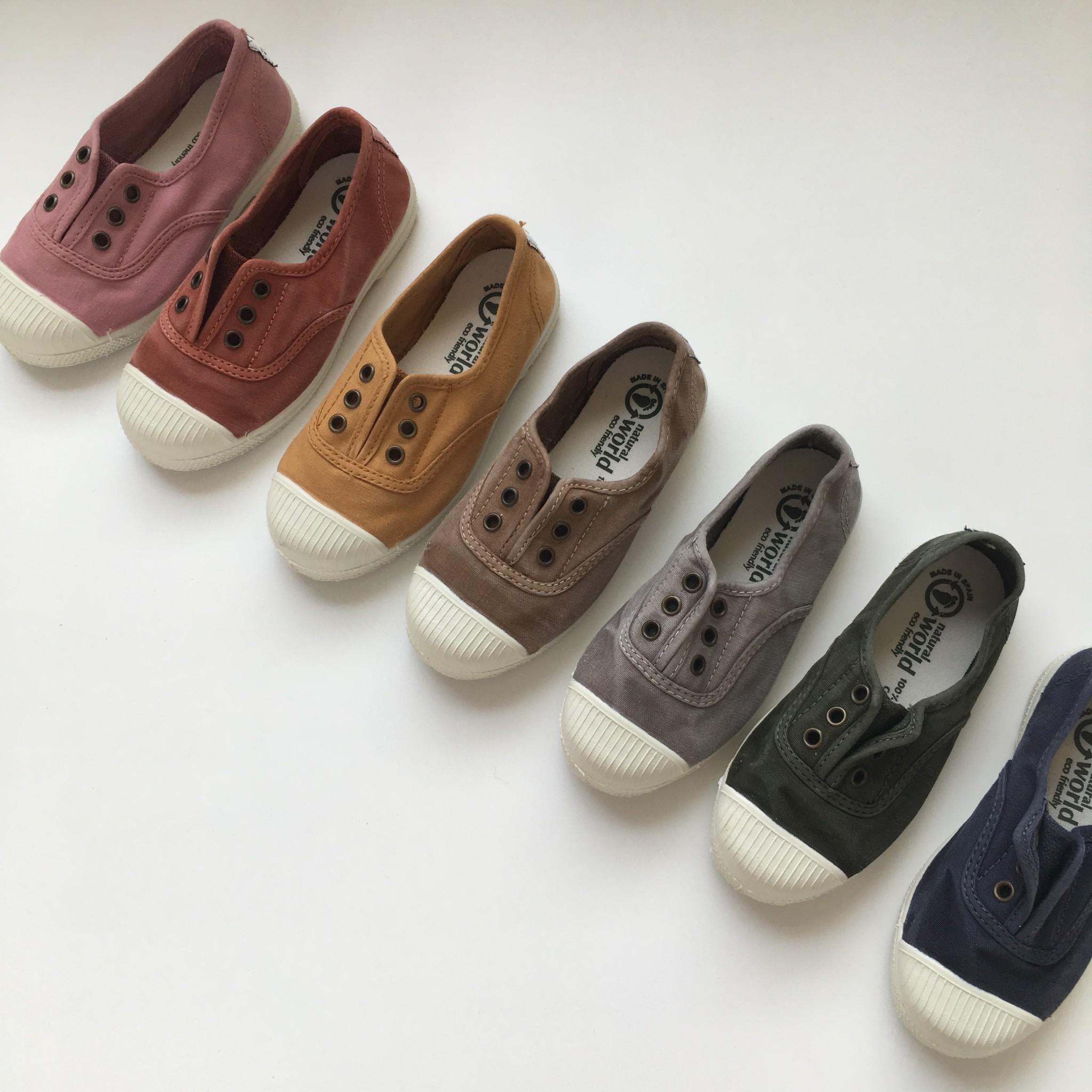 NATURAL WORLD eco kids sneakers OLD LAVANDA - organic cotton - stone washed khaki - 21 to 34