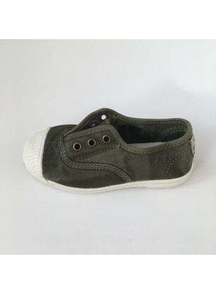 NATURAL WORLD eco kinder sneakers OLD LAVANDA - biologisch katoen - stone washed khaki - 21 tm 34
