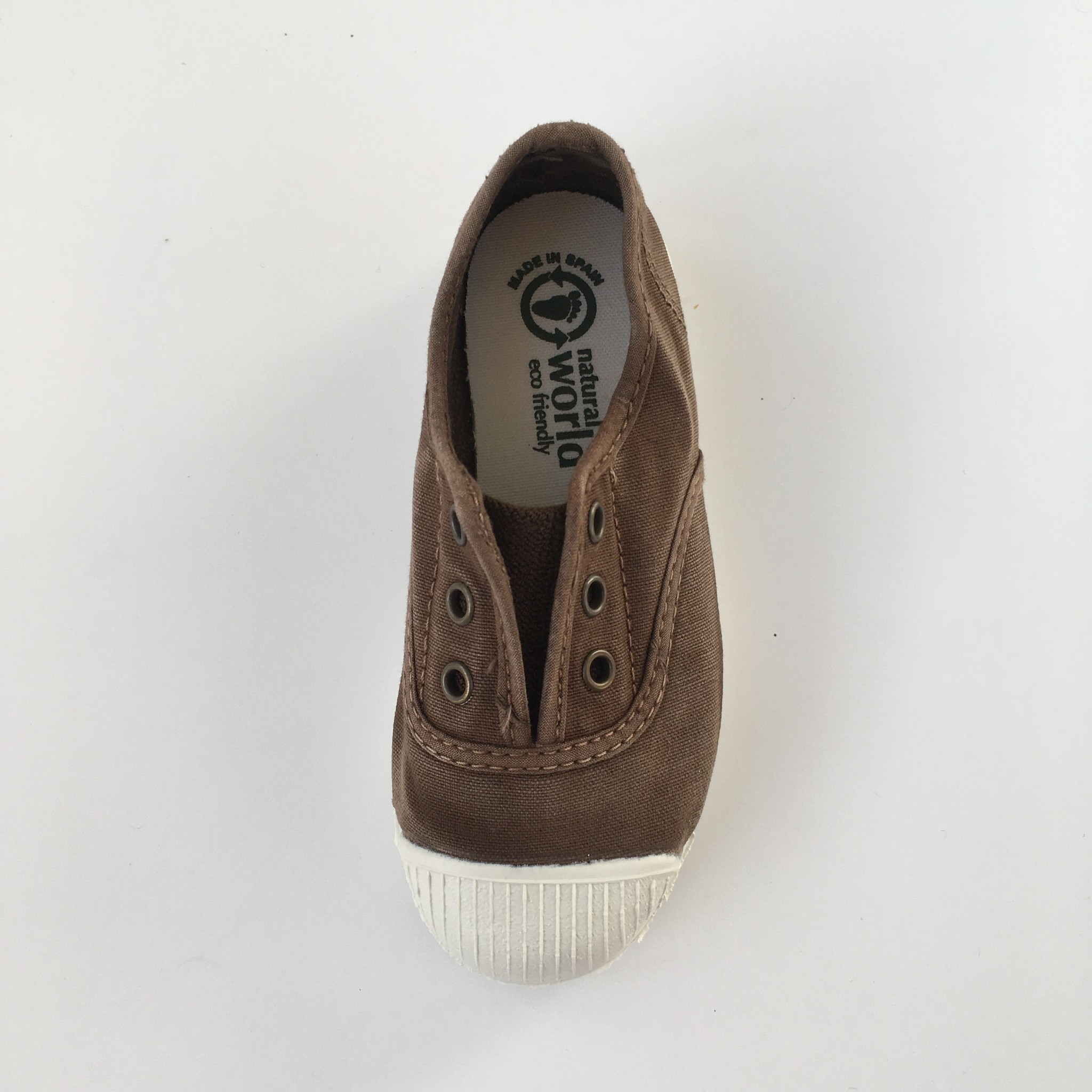 NATURAL WORLD eco kids sneakers OLD LAVANDA - organic cotton - stone washed brown - 21 to 34
