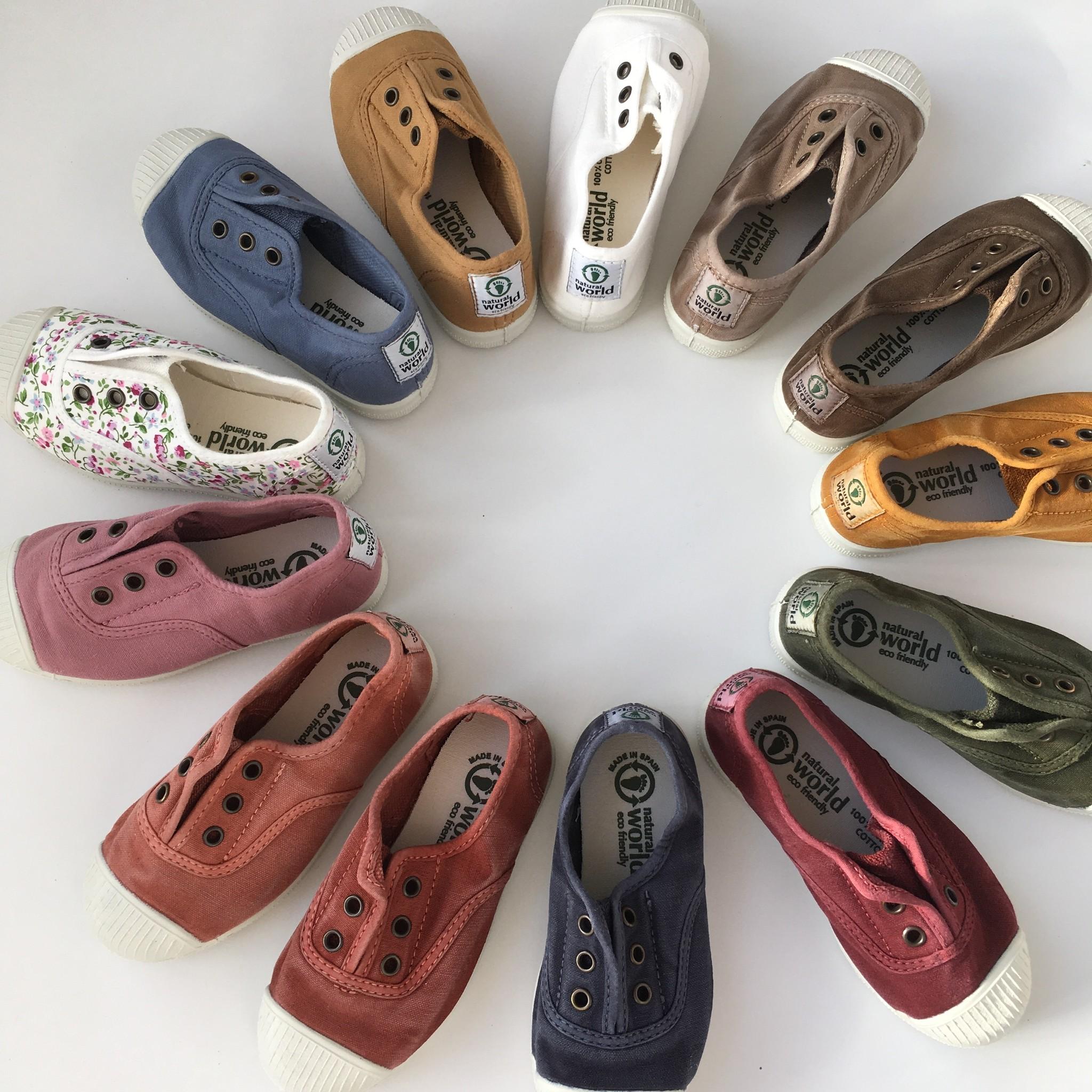 NATURAL WORLD eco kinder sneakers OLD LAVANDA - organic cotton - stone washed light grey - 21 tm 34