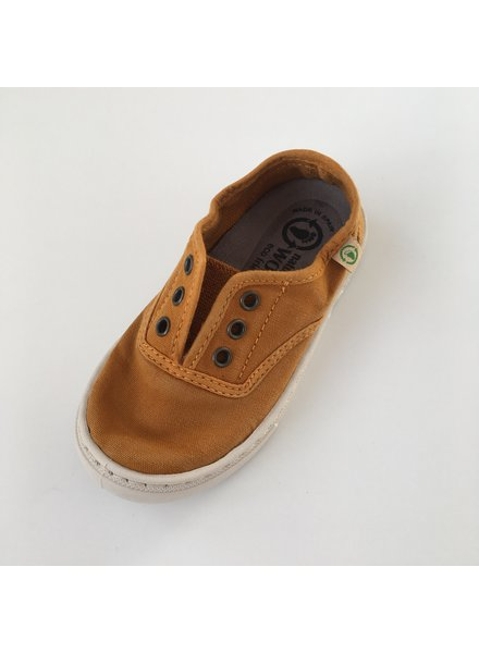 NATURAL WORLD eco children's sneakers EBRO - organic cotton - stone washed ochre - 25 to 38