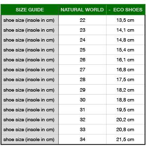 maattabel vegan kinder sneakers/ kinderschoenen Natural World
