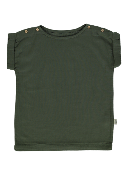 Poudre Organic short sleeve shirt  LIN  - 100% organic cotton - forest green - 1m to 14y