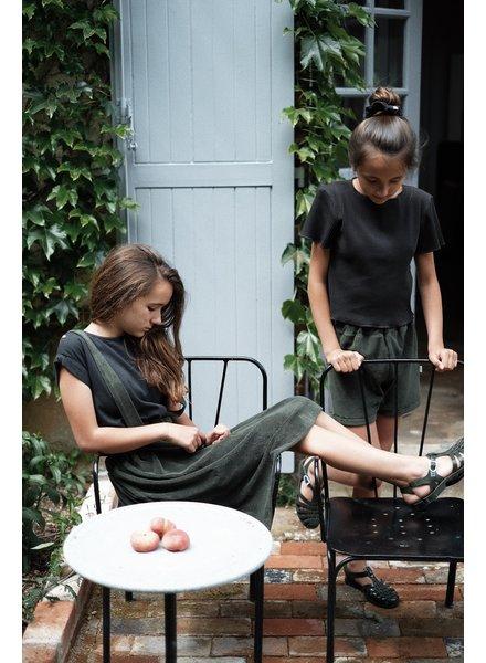 Poudre Organic shirt korte mouw LIN  - 100% biologisch katoen - zwart - 1m tm 14 jaar