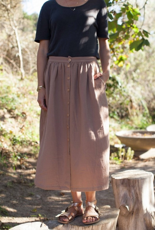 Marlot Paris women maxi skirt MINETTE - 100% cotton - macaron - S to L