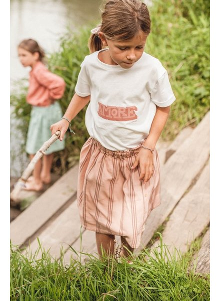Marlot Paris girls skirt ALBERTINE striped - 100% twill cotton - desert rose - 4 to 10 years