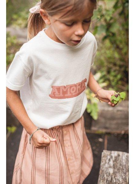 Marlot Paris girls shirt AMORE - 100%  organic jersey cotton  - white with print