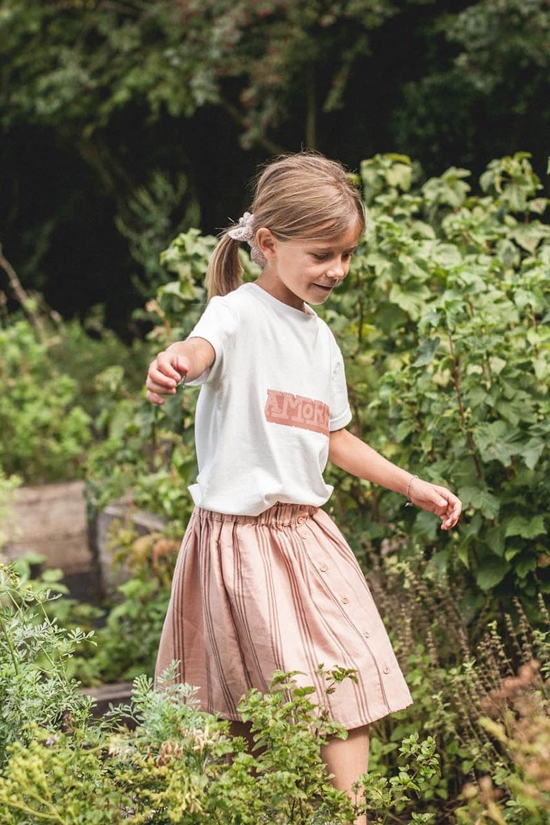 Marlot Paris meisjes shirt AMORE - 100% biologisch jersey katoen - wit met print - 4 tm 10 jaar