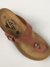 PLAKTON SANDALS leren kurk slipper BOLERO teens & dames - nubuckleer terracotta  - 35 tm 40