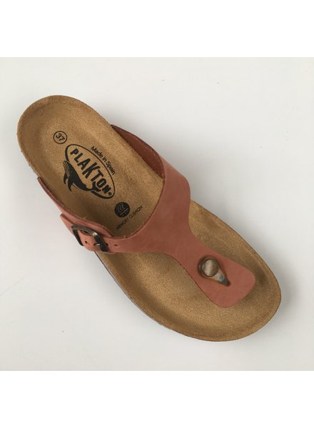 PLAKTON SANDALS leather cork slipper BOLERO teens & ladies - nubuck leather terracotta - 35 to 40