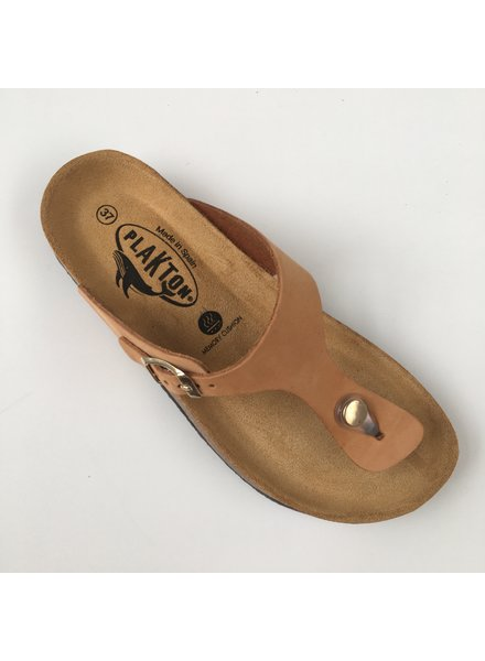 PLAKTON SANDALS leather cork slipper BOLERO teens & ladies - nubuck leather dune tan - 35 to 40