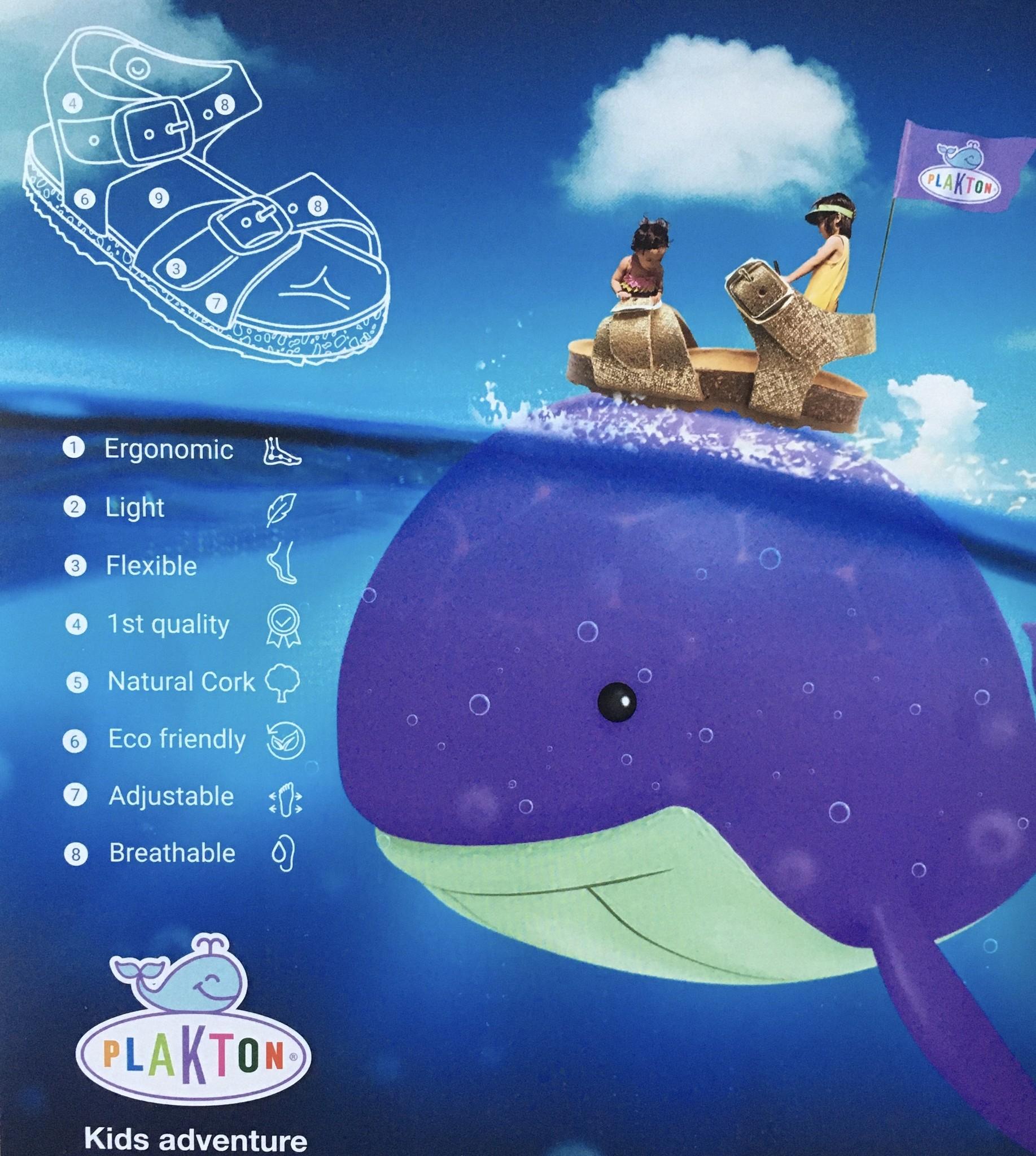 PLAKTON SANDALS leren kinderslipper kurk BOLERO - nubuckleer terracotta  - 24 tm 34