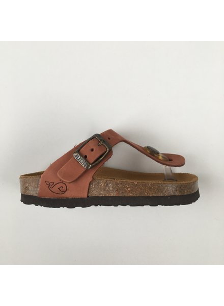 PLAKTON SANDALS leather children's slippers cork BOLERO - nubuck leather terracotta - 24 to 34