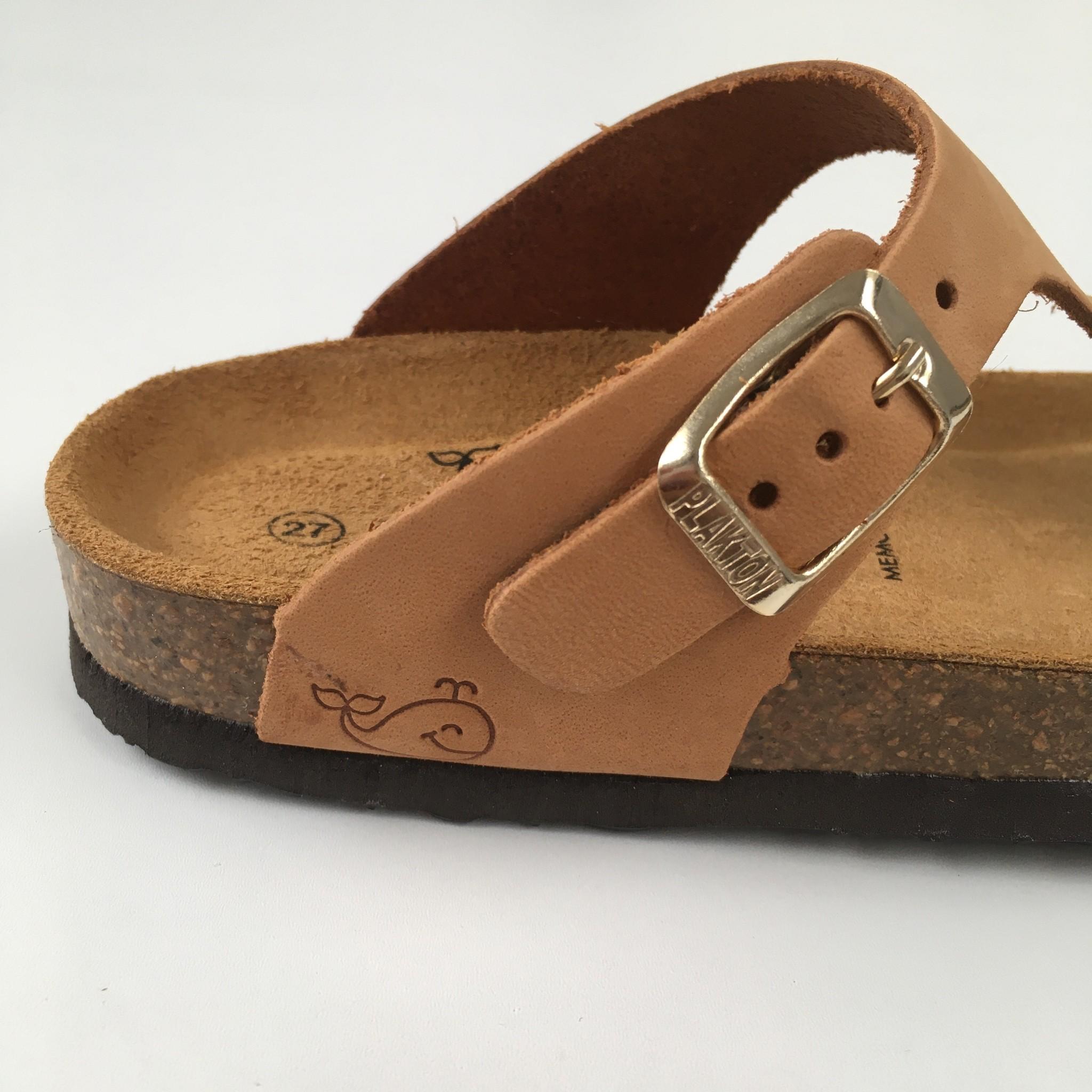 PLAKTON SANDALS leather children's slipper cork BOLERO - nubuck leather sand color beige - 24 to 34