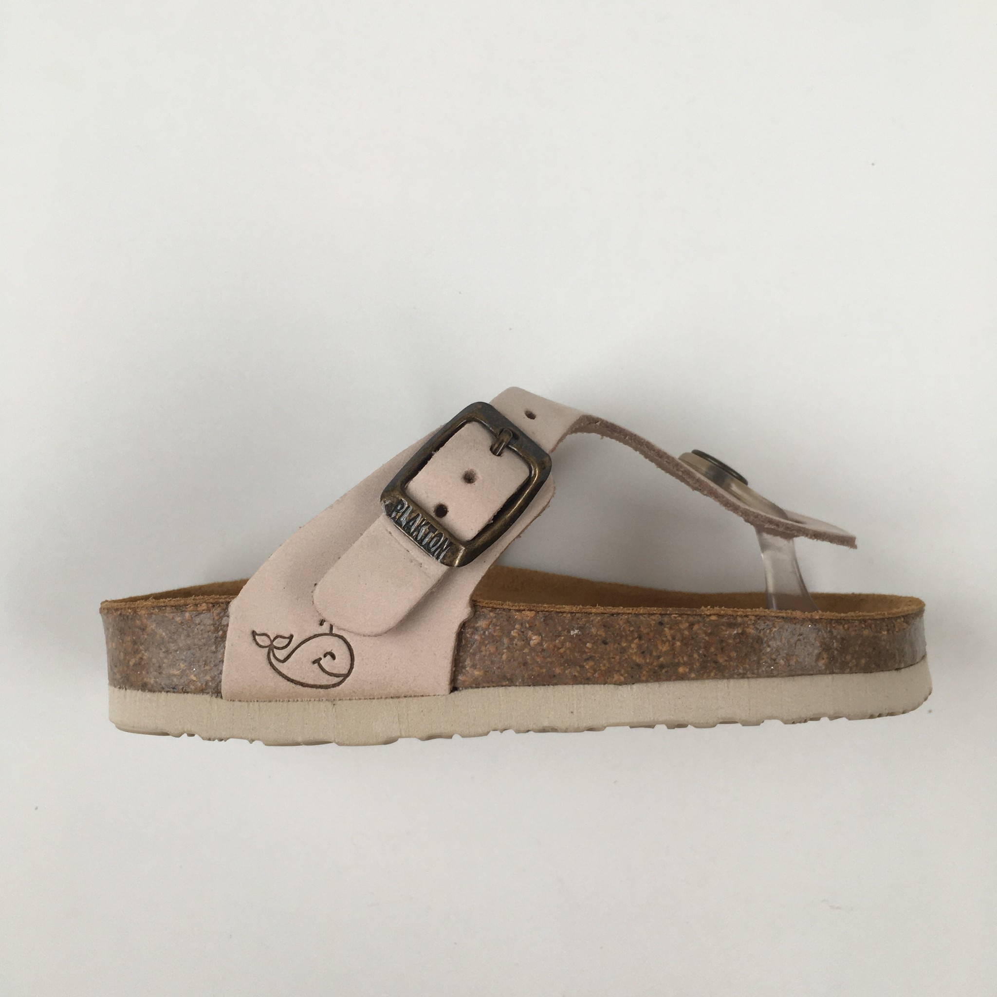 PLAKTON SANDALS leather children's slipper cork BOLERO - nubuck leather pale pink - 24 to 34