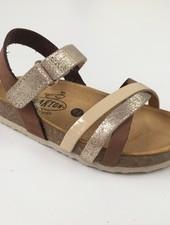 PLAKTON SANDALS leren kurk sandaal kind SOFIA - zilver/ mokka/ beige  - 24 tm 35