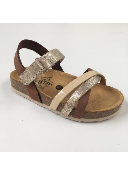 PLAKTON leren kurk sandaal kind SOFIA - zilver/ mokka/ beige  - 24 tm 35