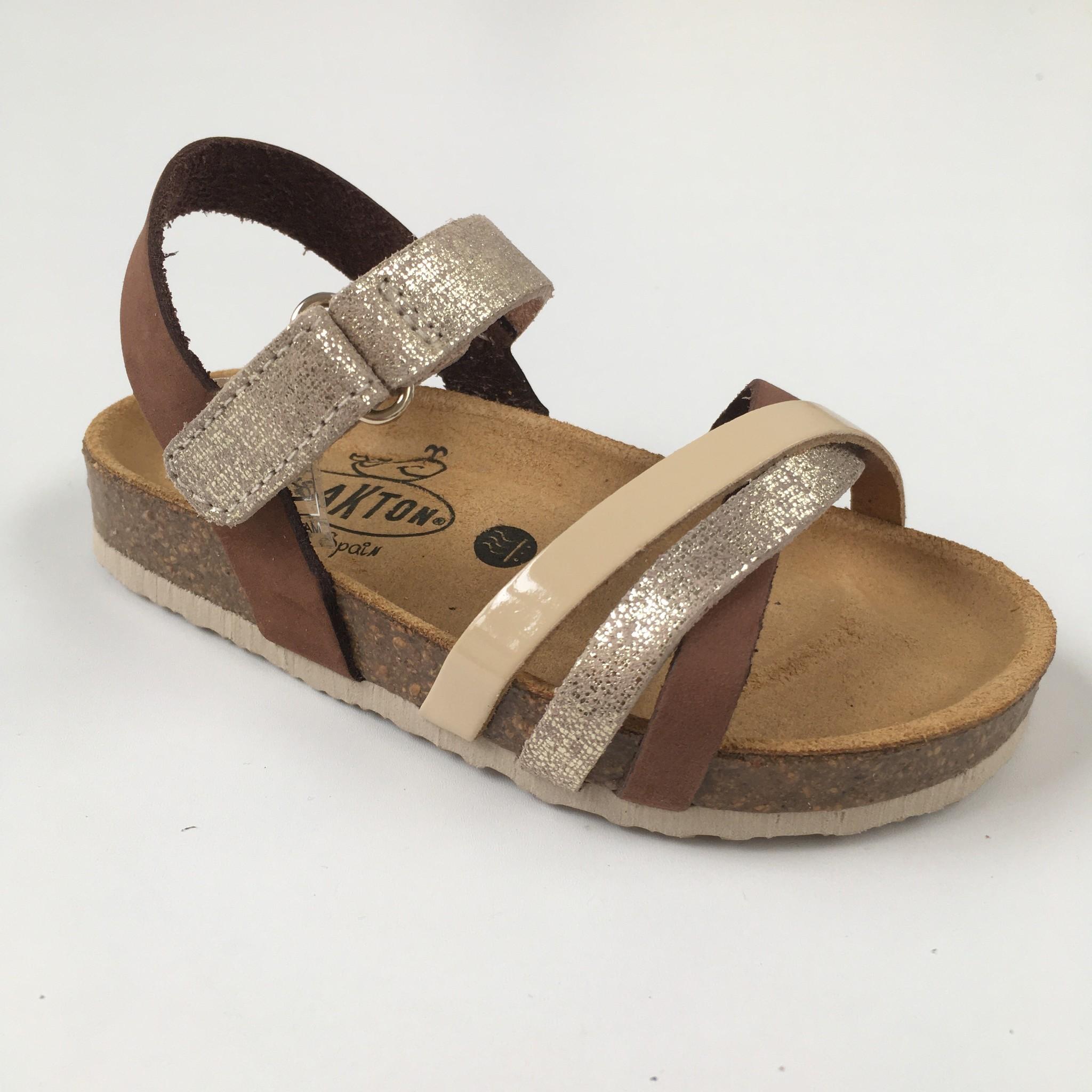 PLAKTON SANDALS leather cork sandal child SOFIA - silver / mokka / beige - 24 to 35