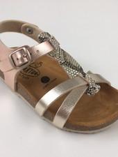 PLAKTON SANDALS leren kurk sandaal kind CROSS - metallic roze/ glitter slang  - 24 tm 35