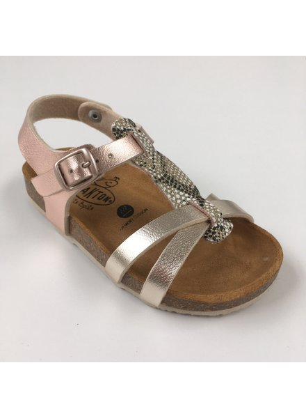 PLAKTON SANDALS leather cork sandal child CROSS - metallic pink / glitters  - 24 to 35
