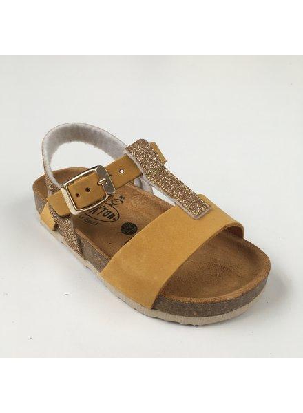 PLAKTON leather cork sandal child SENDRA - nubuck mustard yellow / glitter gold - 24 to 35