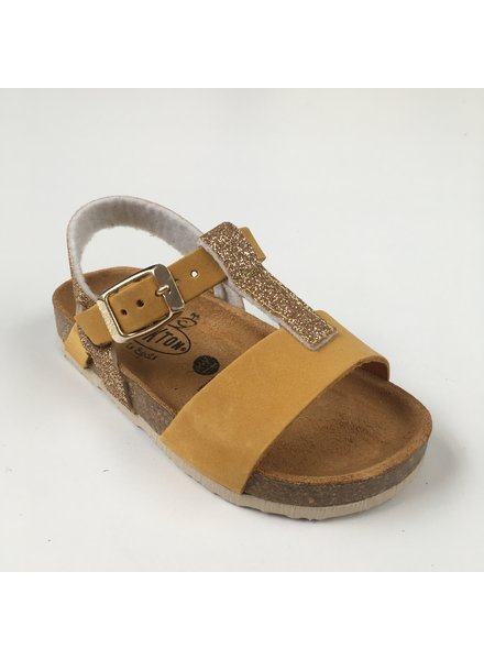PLAKTON SANDALS leather cork sandal child SENDRA - nubuck mustard yellow / glitter gold - 24 to 35