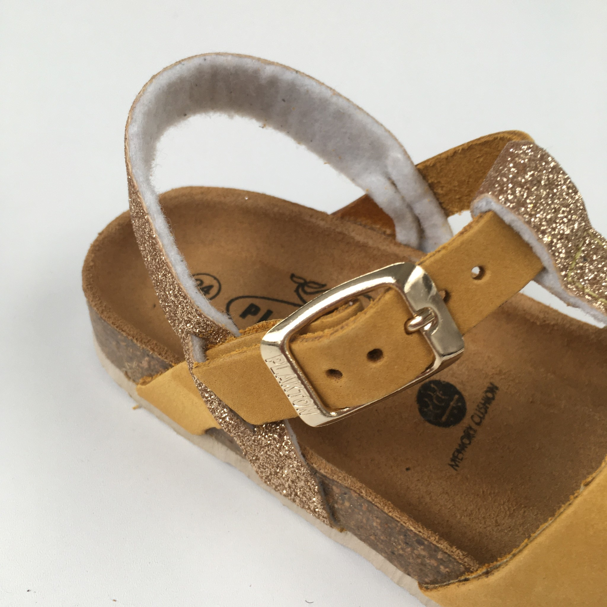 PLAKTON SANDALS leather cork sandal child SENDRA - nubuck mustard yellow / glitter gold - 24 to 35